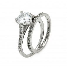 Sterling Silver Rhodium Plated Clear CZ Heart Bridal Ring Set bgr00068