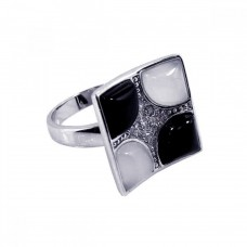 **Closeout** Sterling Silver Rhodium Plated Black White Stone Clear Pave Set CZ Square Ring - BGR00072