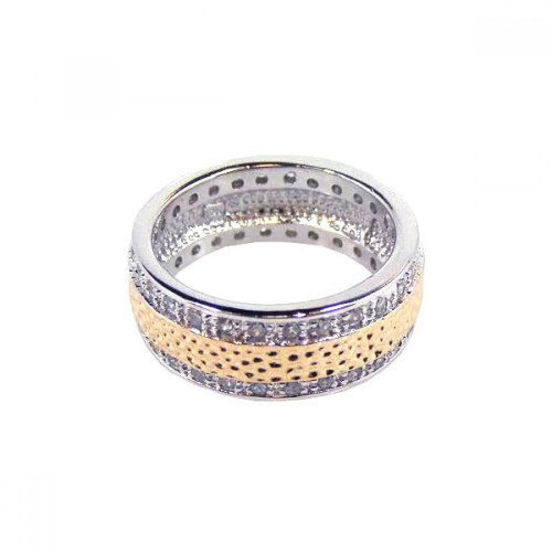 -Closeout- Wholesale Sterling Silver 925 Two Tone Rhodium and Gold Plated Channel Set Clear CZ Hammered Eternity Ring - BGR00073