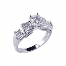 Sterling Silver Rhodium Plated Clear Baguette Round Center CZ Bridal Ring bgr00078