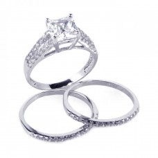 Sterling Silver Rhodium Plated Clear Princess Cut Pave Set CZ Bridal Ring Set bgr00081
