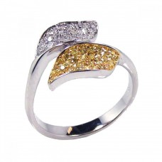 **Closeout** Sterling Silver Rhodium & Gold Plated Yellow & Clear CZ Leaf Ring - BGR00085