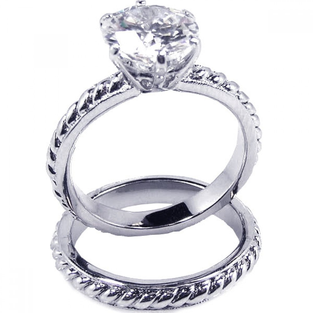 Wholesale Sterling Silver 925 Rhodium Plated Clear Solitaire CZ Rope Bridal Ring Set - BGR00089