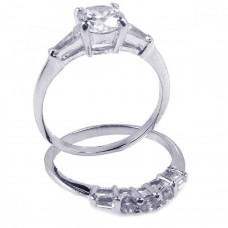 Sterling Silver Rhodium Plated Clear Baguette Round CZ Bridal Ring Set bgr00092