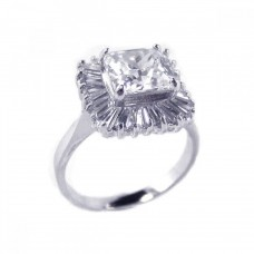 Sterling Silver Rhodium Plated Clear Baguette Square CZ Antique Bridal Ring bgr00103