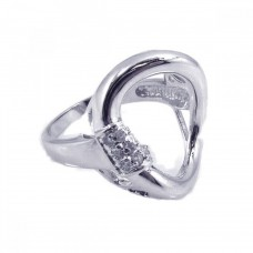 **Closeout** Sterling Silver Rhodium Plated Clear CZ Open Circle Ring - BGR00106
