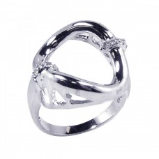 **Closeout** Sterling Silver Rhodium Plated Clear CZ Open Round Ring - BGR00107