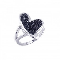 **Closeout** Sterling Silver Rhodium Plated Black Pave Set CZ Heart Ring - BGR00108