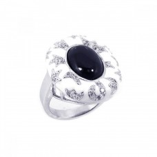 **Closeout** Wholesale Sterling Silver 925 Rhodium Plated White Enamel Black Onyx CZ Moon Star Ring - BGR00130
