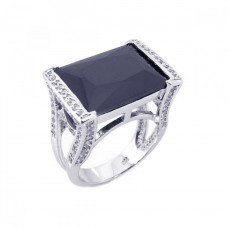 Sterling Silver Rhodium Plated Black Onyx Clear CZ Square Ring bgr00134