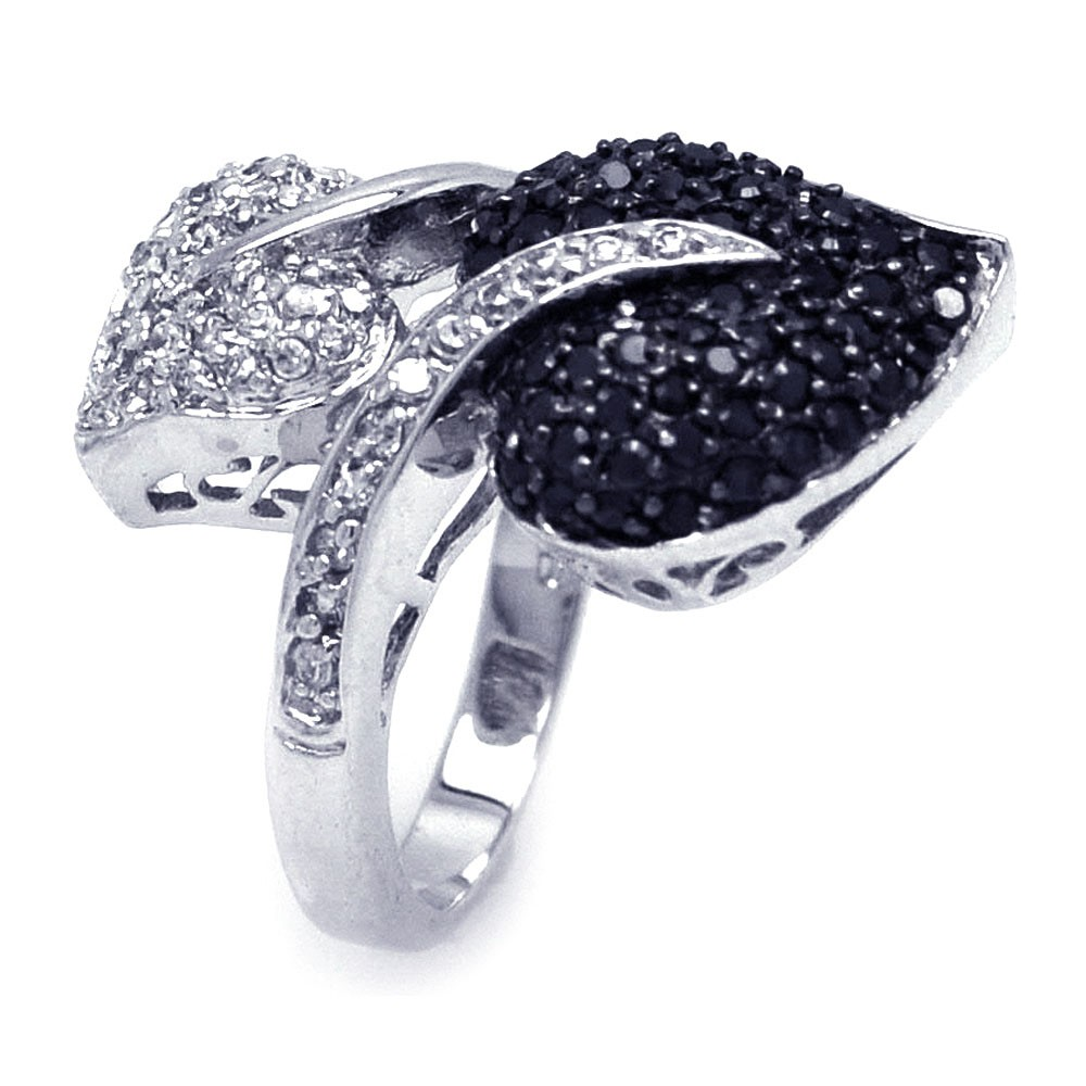 -Closeout- Wholesale Sterling Silver 925 Rhodium and Black Rhodium Plated Black and Clear CZ Leaf Ring - BGR00145