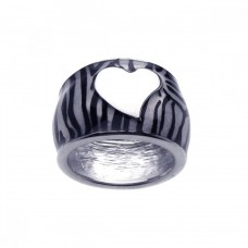 **Closeout** Wholesale Sterling Silver 925 Rhodium Plated White Heart Zebra Stripe Ring - BGR00147