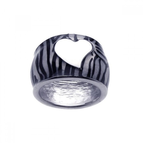 -Closeout- Wholesale Sterling Silver 925 Rhodium Plated White Heart Zebra Stripe Ring - BGR00147
