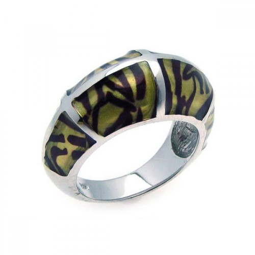 -Closeout- Wholesale Sterling Silver 925 Rhodium Plated Tiger Stripes Ring - BGR00148