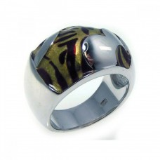 **Closeout** Wholesale Sterling Silver 925 Rhodium Plated Tiger Stripes Ring - BGR00152
