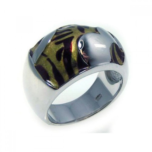 -Closeout- Wholesale Sterling Silver 925 Rhodium Plated Tiger Stripes Ring - BGR00152