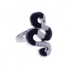 **Closeout** Wholesale Sterling Silver 925 Rhodium Plated Black Onyx Clear CZ Snake Ring - BGR00157