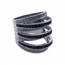 Sterling Silver Rhodium and Black Rhodium Plated Black and Clear CZ Stripe Ring - BGR00171