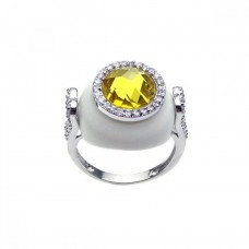**Closeout** Wholesale Sterling Silver 925 Rhodium Plated White Enamel Yellow Center and Clear CZ Circle Cannon Ring - BGR00176