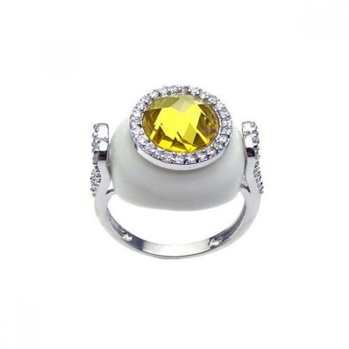 -Closeout- Wholesale Sterling Silver 925 Rhodium Plated White Enamel Yellow Center and Clear CZ Circle Cannon Ring - BGR00176