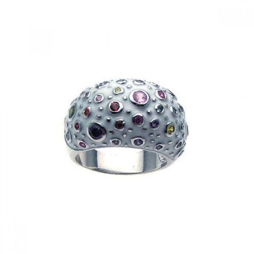-Closeout- Wholesale Sterling Silver 925 Rhodium Plated White Enamel Multi Colored CZ Dome Ring - BGR00177
