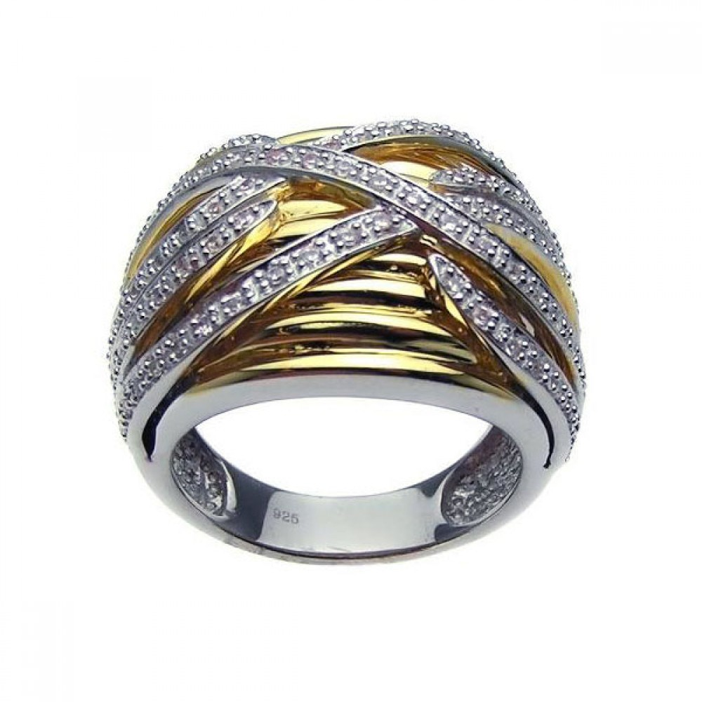 -Closeout- Wholesale Sterling Silver 925 Rhodium and Gold Plated Clear CZ Overlapping Ring - BGR00181