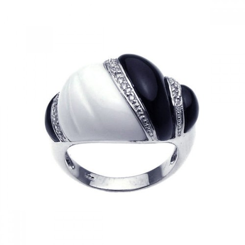 -Closeout- Wholesale Sterling Silver 952 Rhodium Plated Clear CZ Black and White Ring - BGR00184