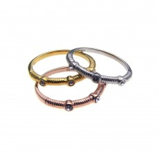 Sterling Silver Rhodium Gold and Rose Gold Plated 3 Toned Clear CZ Stackable Ring Set - BGR00196