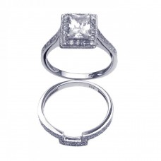 Sterling Silver Rhodium Plated Clear CZ Square Bridal Ring Set bgr00198