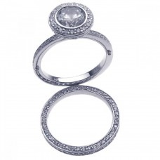 Sterling Silver Rhodium Plated Clear CZ Round Bridal Ring Set bgr00199