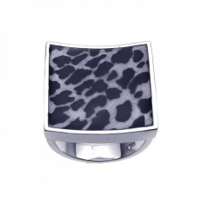 **Closeout** Wholesale Sterling Silver 925 Rhodium Plated Square Animal Print Ring - BGR00200