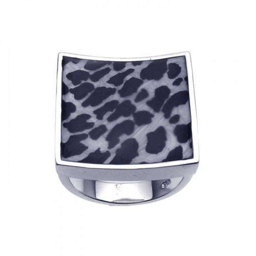 -Closeout- Wholesale Sterling Silver 925 Rhodium Plated Square Animal Print Ring - BGR00200