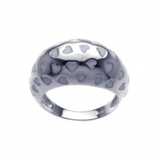 **Closeout** Wholesale Sterling Silver 925 Rhodium Plated White Enamel Heart Dome Ring - BGR00204