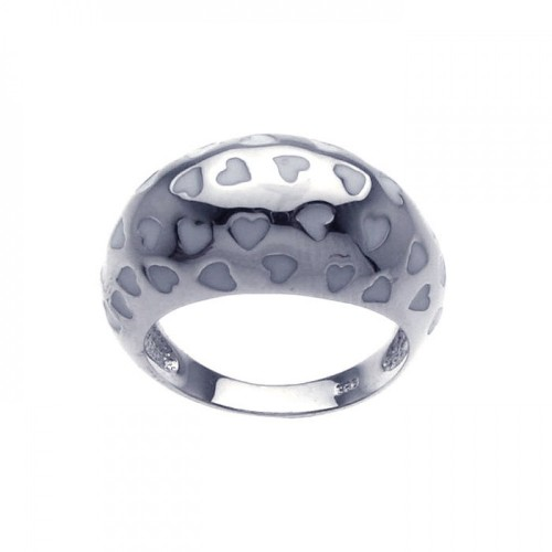 -Closeout- Wholesale Sterling Silver 925 Rhodium Plated White Enamel Heart Dome Ring - BGR00204