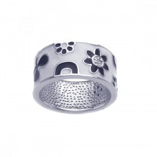 **Closeout** Wholesale Sterling Silver 925 Rhodium Plated White and Black Enamel Flower Ring - BGR00210