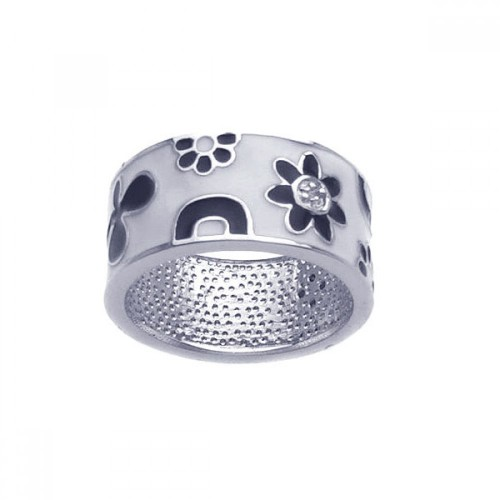 -Closeout- Wholesale Sterling Silver 925 Rhodium Plated White and Black Enamel Flower Ring - BGR00210