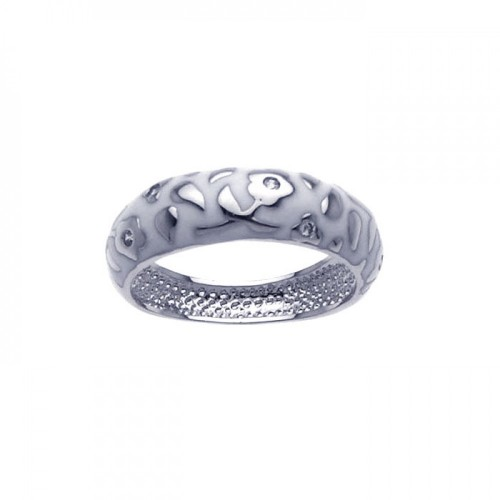 -Closeout- Wholesale Sterling Silver 925 Rhodium Plated White Enamel Flower Ring - BGR00215