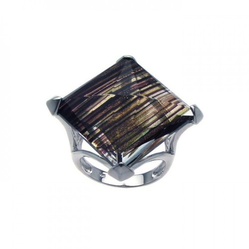 -Closeout- Wholesale Sterling Silver 925 Rhodium Plated Sandstone Ring - BGR00227