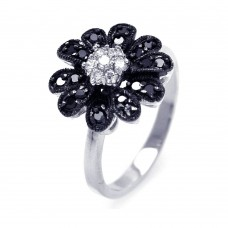 **Closeout** Sterling Silver Rhodium and Black Rhodium Plated 2 Toned Black and Clear Pave Set CZ Flower Ring - BGR00242