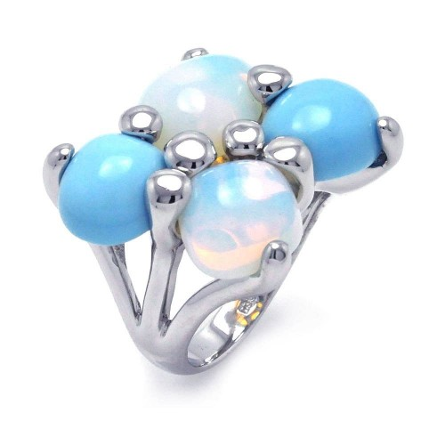 -Closeout- Wholesale Sterling Silver 925 Rhodium Plated Turquoise Opal Ring - BGR00243