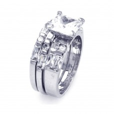 Sterling Silver Rhodium Plated Clear Baguette Round Square Center CZ Bridal Ring Set bgr00248
