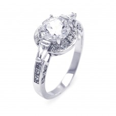 Sterling Silver Rhodium Plated Clear CZ Round Bridal Ring bgr00254