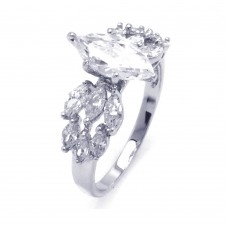 Sterling Silver Rhodium Plated Clear Marquise Center CZ Bridal Ring bgr00255