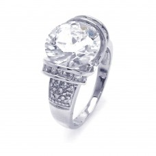 Sterling Silver Rhodium Plated Clear Baguette Pave Set Round Center CZ Bridal Ring bgr00256