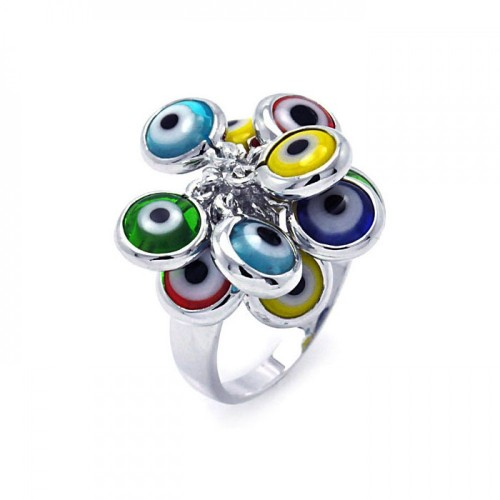 Wholesale Sterling Silver 925 Rhodium Plated Multi Colored Hanging Evil Eye Ring - BGR00258