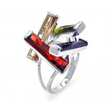 Wholesale Sterling Silver 925 Rhodium Plated Multi Colored CZ Open Long Bar Ring - BGR00259