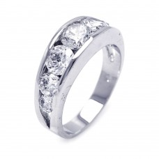 **Closeout** Wholesale Sterling Silver 925 Rhodium Plated Round Clear CZ Graduated Ring - BGR00261