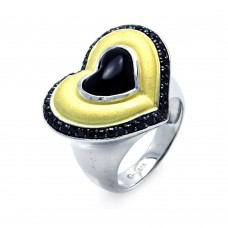 **Closeout** Wholesale Sterling Silver 925 Rhodium, Black Rhodium, and Gold Plated 3 Toned Black CZ Heart Ring - BGR00274
