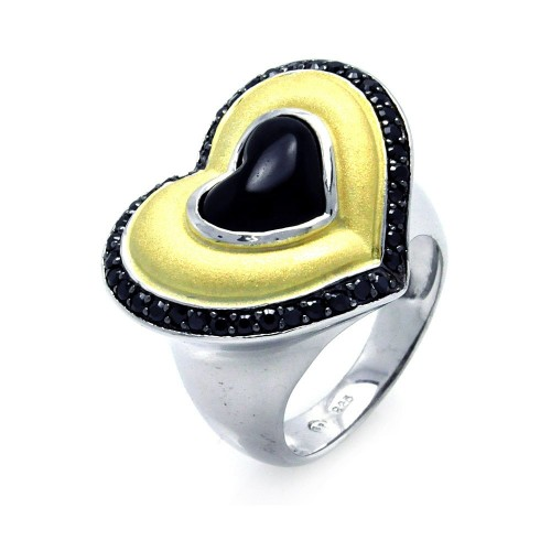 -Closeout- Wholesale Sterling Silver 925 Rhodium, Black Rhodium, and Gold Plated 3 Toned Black CZ Heart Ring - BGR00274