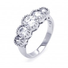 Sterling Silver Rhodium Plated 5 Stone Set Clear CZ Ring bgr00278